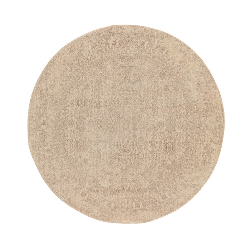 Round Taupe Fine Jacquard Hand Loomed Modern Wool And Art Silk Oriental