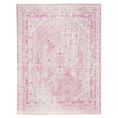 Pink Variegated Broken Persian Design Pure Wool Hand Knotted Oriental