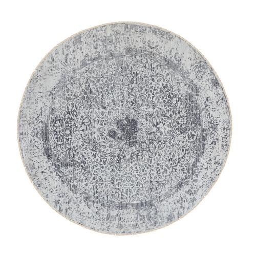 Round Broken Persian Design Wool and Pure Silk Hand Knotted Oriental Rug