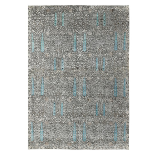 Oversized Cypress Tree Design Silk with Textured Wool Hand Knotted Oriental Rug