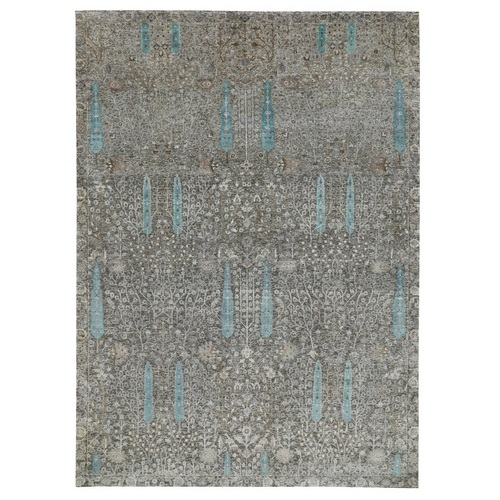 Cypress Tree Design Silk with Textured Wool Hand Knotted Oriental Rug
