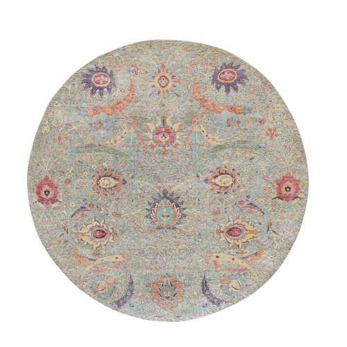 Round Sickle Leaf Design Silk With Textured Wool Hand Knotted Oriental Rug