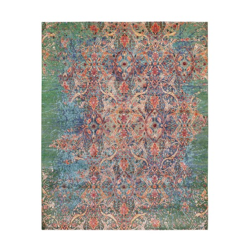 Colorful Silk With Green Transitional Broken Mughal Design Oriental