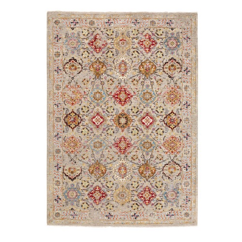 THE SUNSET ROSETTES Wool And Pure Silk Hand Knotted Oriental Rug