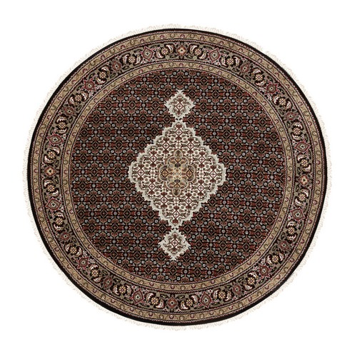 Black Hand Knotted Fish Design Tabriz Mahi Wool And Silk Round Oriental Rug