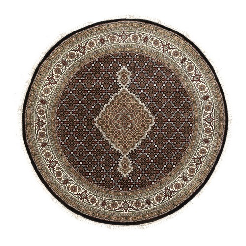Round Black Fish Design Tabriz Mahi Wool And Silk Oriental Hand Knotted Rug