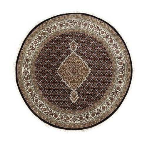 Hand Knotted Black Fish Design Tabriz Mahi Wool And Silk Round Oriental Rug