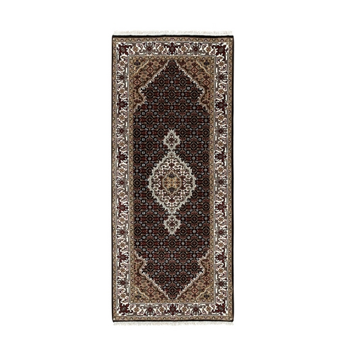 Hand Knotted Black Fish Design Tabriz Mahi Wool And Silk Runner Oriental Rug