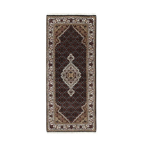 Black Wool And Silk Fish Design Tabriz Mahi Hand Knotted Oriental Runner Rug