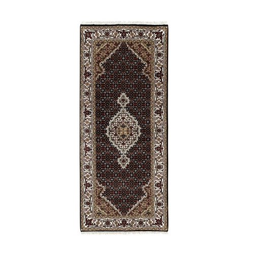 Wool And Silk Black Hand Knotted Tabriz Mahi Fish Design Runner Oriental Rug