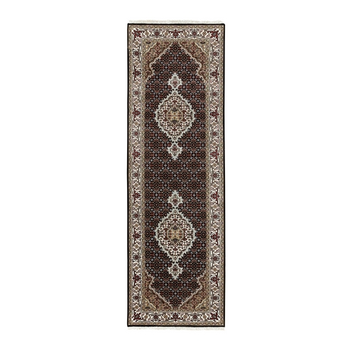 Fish Design Tabriz Mahi Black Wool And Silk Hand Knotted Oriental Runner Rug