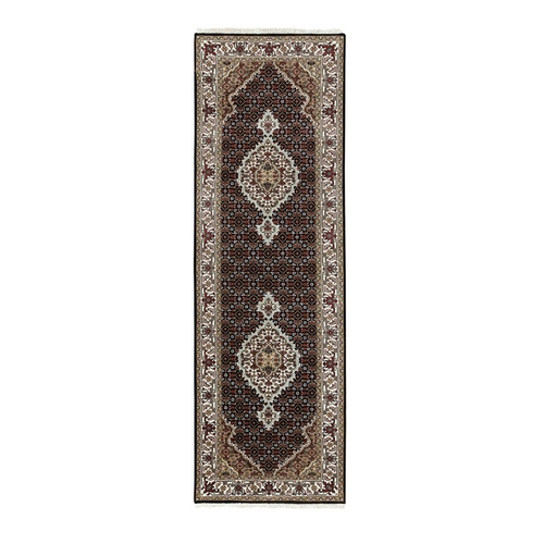 Black Hand Knotted Fish Design Tabriz Mahi Wool And Silk Runner Oriental Rug