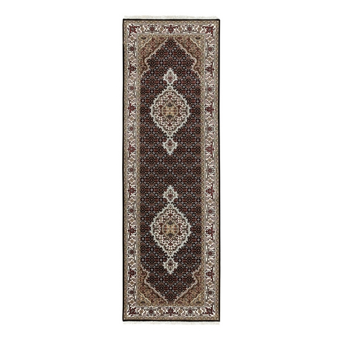 Hand Knotted Black Fish Design Tabriz Mahi Wool And Silk Oriental Runner Rug