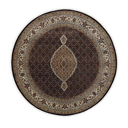 Black Hand Knotted Fish Design Tabriz Mahi Wool And Silk Oriental Round Rug