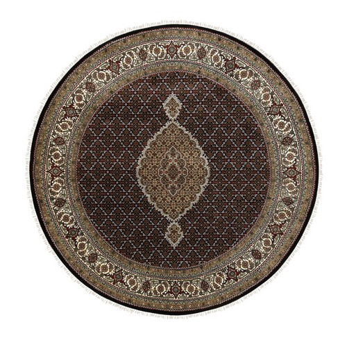 Wool And Silk Black Hand Knotted Fish Design Tabriz Mahi Oriental Round Rug