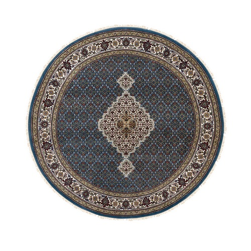 Hand Knotted Wool And Silk Blue Fish Design Tabriz Mahi Oriental Round