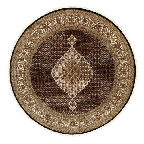 Black Hand Knotted Fish Design Tabriz Mahi Wool And Silk Orienta Round Rug
