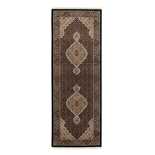 Black Hand Knotted Wool And Silk Tabriz Mahi Fish Design Oriental Runner Rug