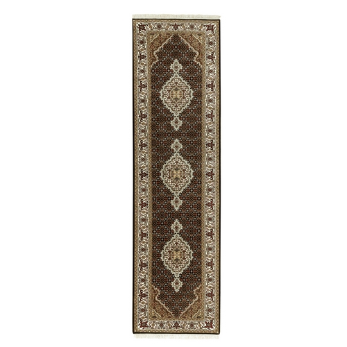 Hand Knotted Wool And Silk Black Fish Design Tabriz Mahi Oriental Runner Rug
