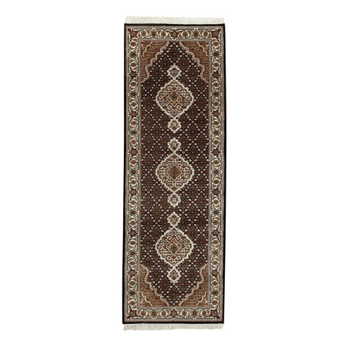 Black Hand Knotted Fish Design Tabriz Mahi Wool And Silk Oriental Runner Rug