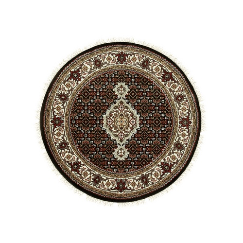 Hand Knotted Wool And Silk Black Fish Design Tabriz Mahi Oriental Round Rug
