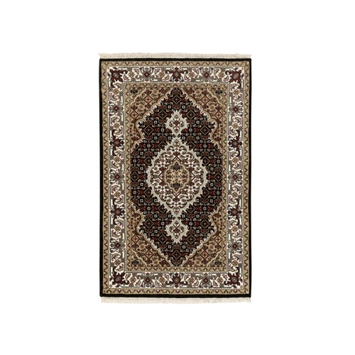 Black Hand Knotted Wool And Silk Tabriz Mahi Fish Design Oriental Rug