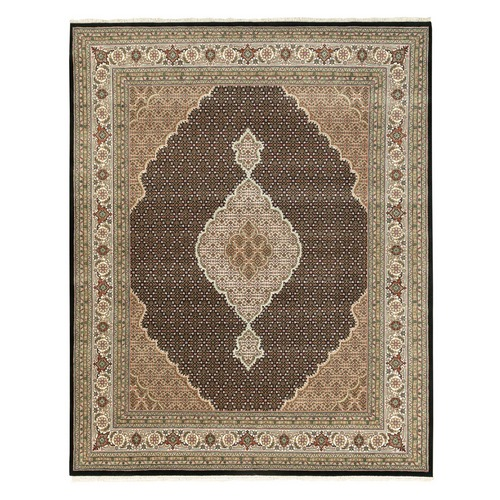 Black Hand Knotted Fish Design Tabriz Mahi Wool And Silk Oriental Rug