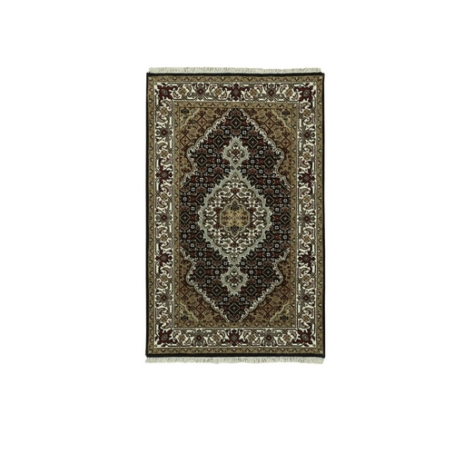 Hand Knotted Wool And Silk Black Fish Design Tabriz Mahi Oriental Rug