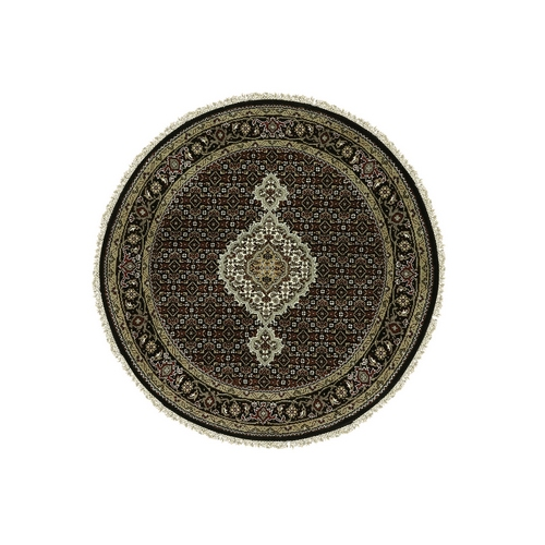 Black Hand Knotted Wool And Silk Tabriz Mahi Fish Design Oriental Round Rug