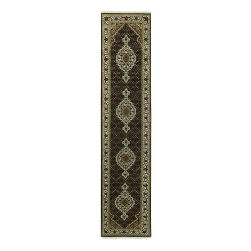 Wool And Silk Black Hand Knotted Fish Design Tabriz Mahi Oriental Runner Rug