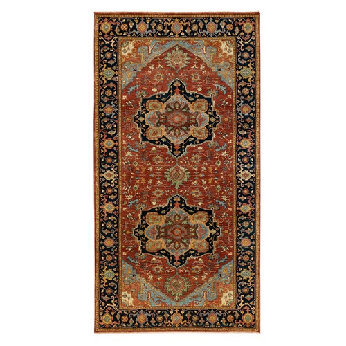 Red Antiqued Heriz Re-Creation Geometric Design Natural Wool Hand Knotted Oriental Wide Runner Rug