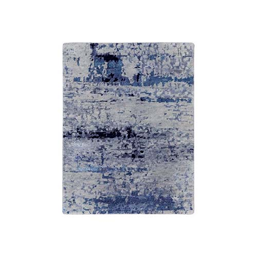 Silver, Blue Wool & Silk Hi-Low Pile Abstract Design Hand Knotted Oriental Rug