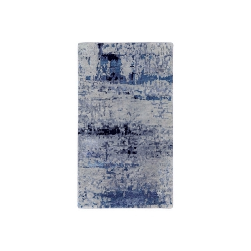 Abstract Design Hi-Low Pile Silver-Blue Hand Knotted Wool & Silk Oriental Rug