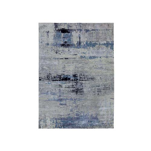 Wool & Silk Abstract Design Silver, Blue Hand Knotted Modern Oriental Rug