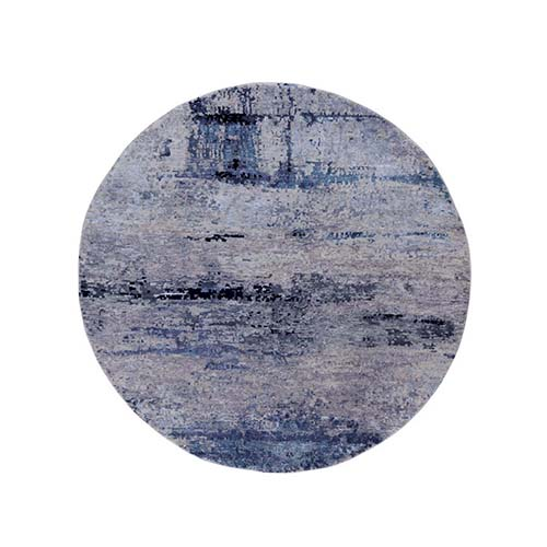 Round Silver, Blue Wool & Silk Abstract Design Hand Knotted Hi-Low Pile Oriental Rug
