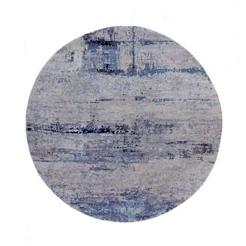 Abstract Design Silver-Blue Modern Hand Knotted Wool & Silk Oriental Round Rug