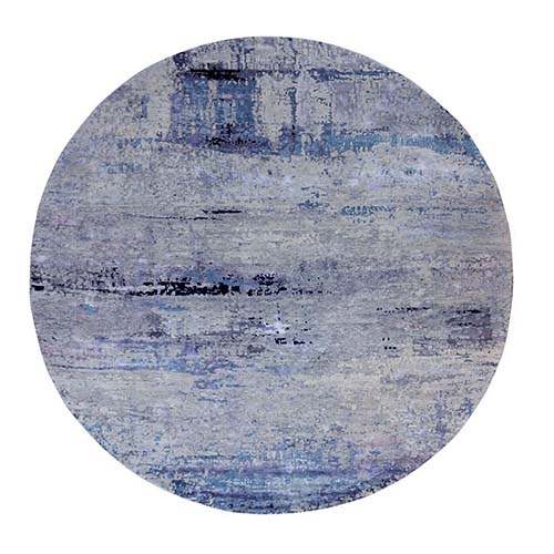 Round Abstract Design Modern Silver-Blue Hand Knotted Wool & Silk Hi-Low Pile Oriental Rug
