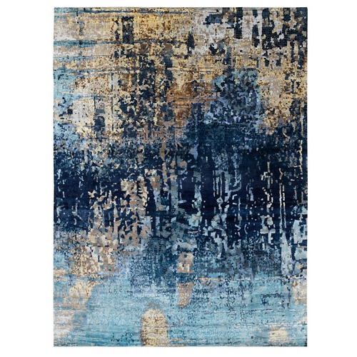 Oversize Blue Mosaic Design Wool and Silk Hand Knotted Oriental Rug
