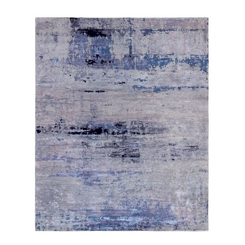 Oversize Silver, Blue Wool & Silk Modern Abstract Design Hand Knotted Oriental Rug