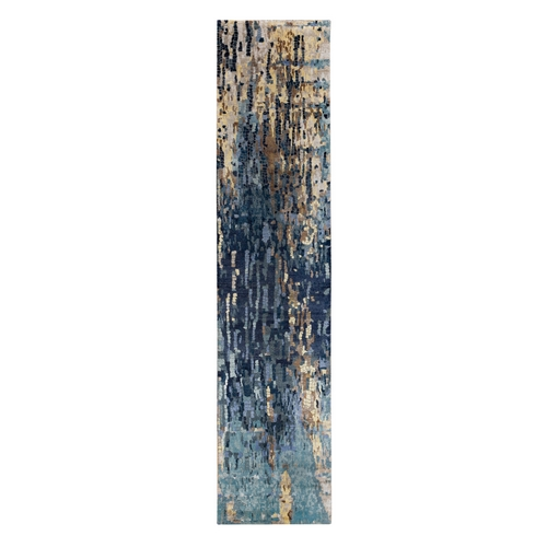 Blue Mosaic Design Wool and Silk Hand Knotted Runner Oriental Rug