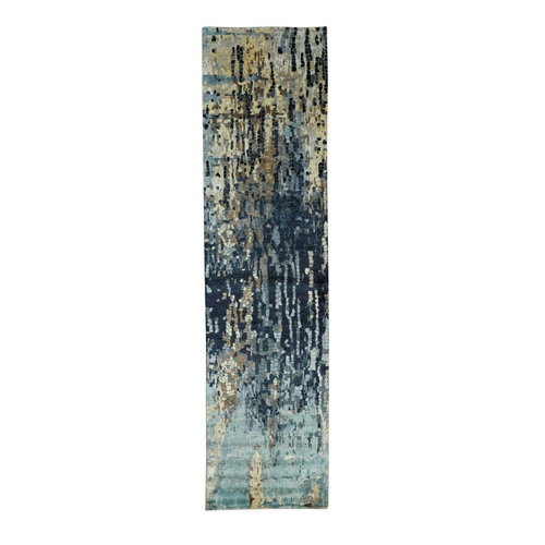 Hand Knotted Blue Mosaic Design Wool and Silk Oriental Runner Rug
