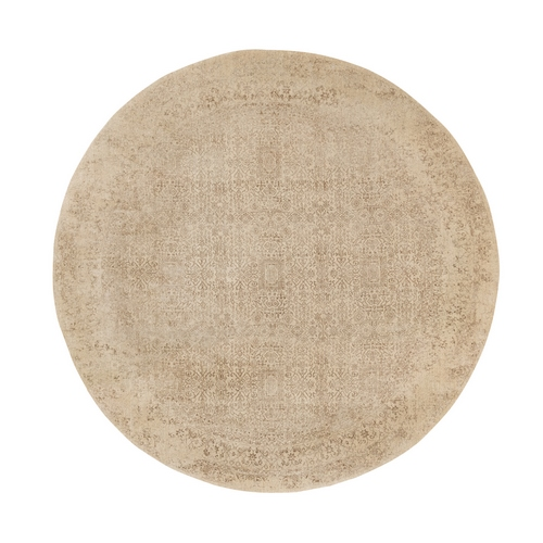 Beige Fine Jacquard Hand Loomed Wool and Art Silk Modern Round Oriental