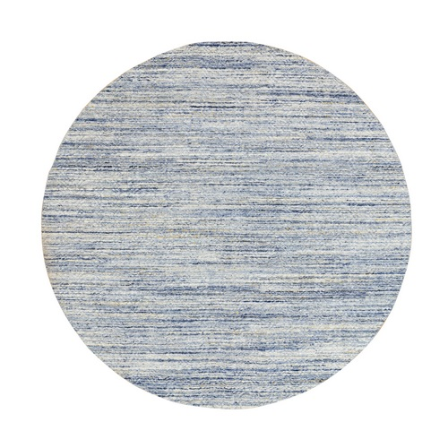 Blue Variegated Textured Design Hand Loomed Pure Wool Modern Round Oriental