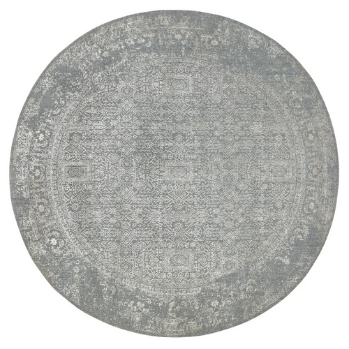 Gray Fine jacquard Tone on Tone Hand Loomed Modern Wool and Art Silk Round Oriental