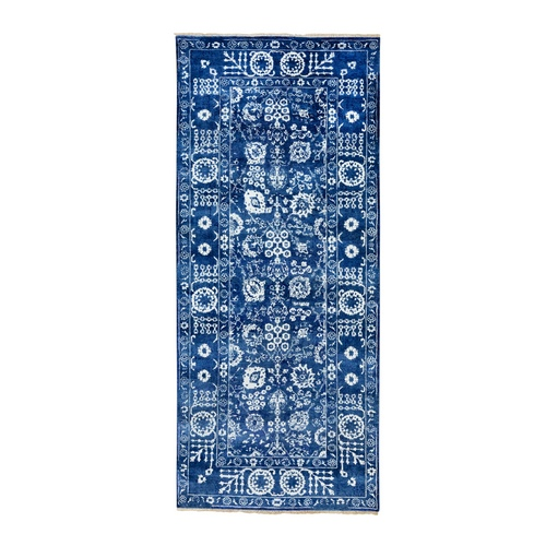 Blue Tone On Tone Tabriz Wool and Silk Hand Knotted Wide Runner Oriental