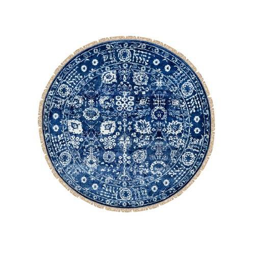 Blue Wool and Silk Tone On Tone Tabriz Hand Knotted Round Oriental