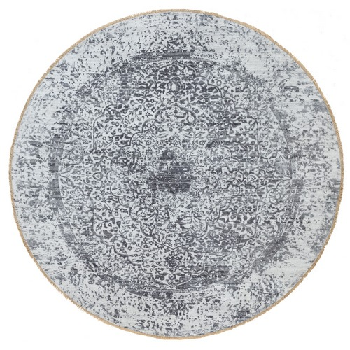 Silver-Dark Gray Erased Persian Design Wool and Pure Silk Hand Knotted Round Oriental Rug