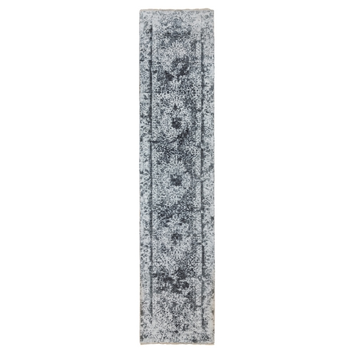 Silver-Dark Gray Erased Persian Design Wool and Pure Silk Hand Knotted Runner Oriental Rug