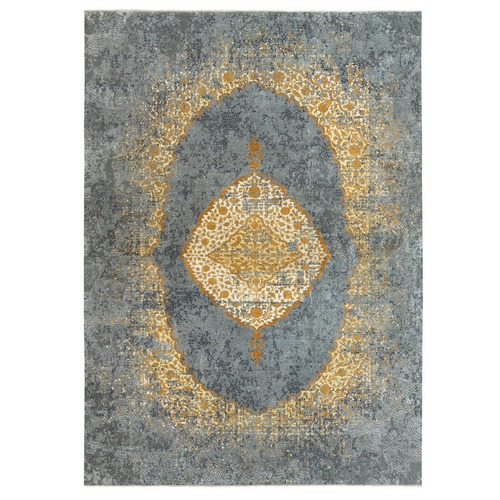 Gold-Gray Oversized Medallion Persian Design Wool and Pure Silk Hand Knotted Oriental Rug