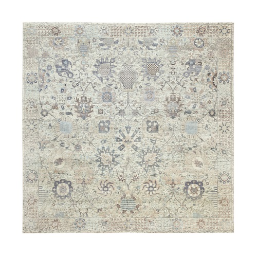 Hand Knotted Ivory Silk With Textured Wool Tabriz Oriental Square